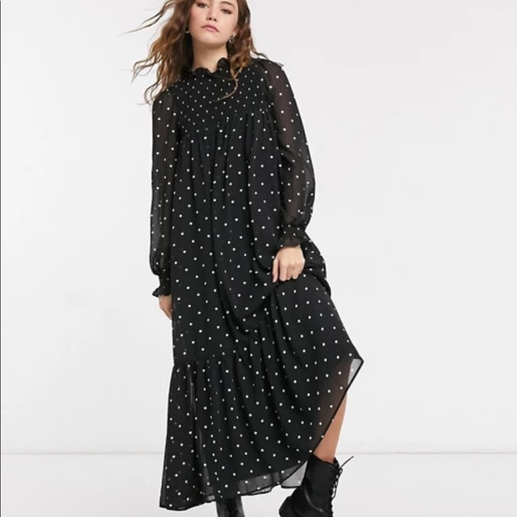 ASOS DESIGN shirred yoke trapeze maxi dress